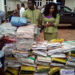 Easter: See What Mercy Johnson And Husband Gave To Widows In Lagos